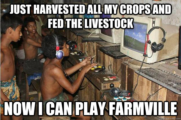 Just harvested all my crops and fed the livestock Now I can play farmville - Just harvested all my crops and fed the livestock Now I can play farmville  3rd World Gamer