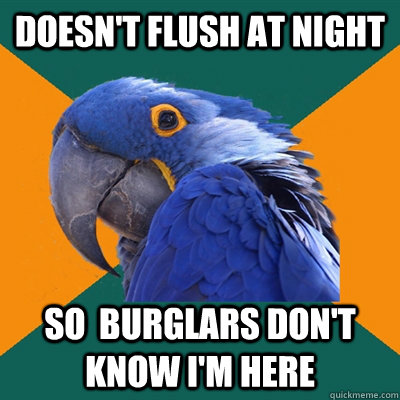 Doesn't flush at night so  burglars don't know I'm here   - Doesn't flush at night so  burglars don't know I'm here    Paranoid Parrot
