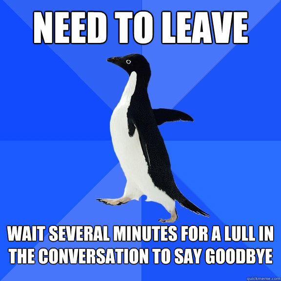 NEED TO LEAVE WAIT SEVERAL MINUTES FOR A LULL IN THE CONVERSATION TO SAY GOODBYE - NEED TO LEAVE WAIT SEVERAL MINUTES FOR A LULL IN THE CONVERSATION TO SAY GOODBYE  Socially Awkward Penguin