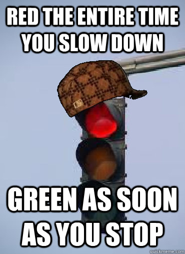 Red the entire time you slow down Green as soon as you stop