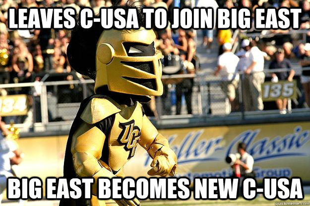 Leaves C-USA to join Big East Big East becomes new C-USA - Leaves C-USA to join Big East Big East becomes new C-USA  Misc