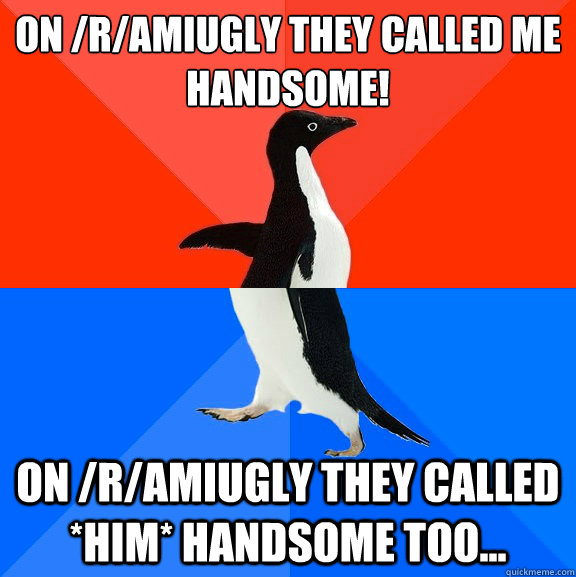 On /r/AmIUgly they called me handsome! On /r/AmIUgly they called *him* handsome too... - On /r/AmIUgly they called me handsome! On /r/AmIUgly they called *him* handsome too...  Socially Awesome Awkward Penguin