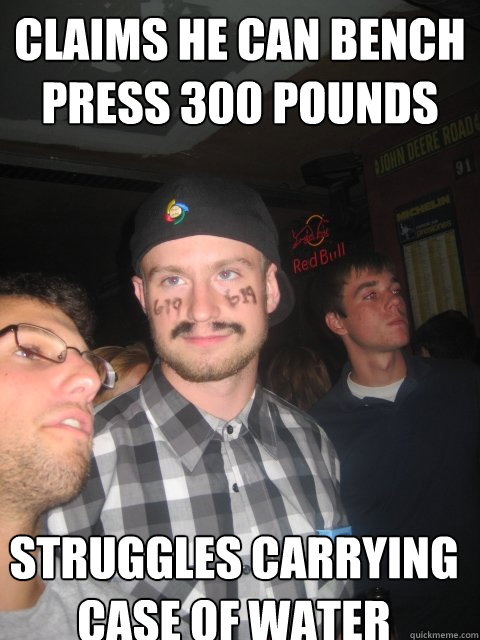 claims he can bench press 300 pounds struggles carrying case of water