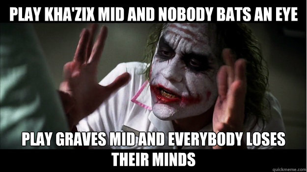 play Kha'Zix mid and nobody bats an eye Play Graves mid and everybody loses their minds - play Kha'Zix mid and nobody bats an eye Play Graves mid and everybody loses their minds  Joker Mind Loss