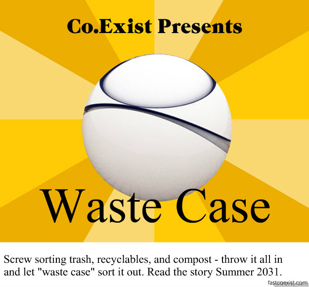 Waste Case Screw sorting trash, recyclables, and compost - throw it all in and let