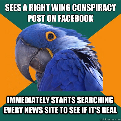 Sees A right wing conspiracy post on Facebook Immediately starts searching every news site to see if it's real - Sees A right wing conspiracy post on Facebook Immediately starts searching every news site to see if it's real  Paranoid Parrot