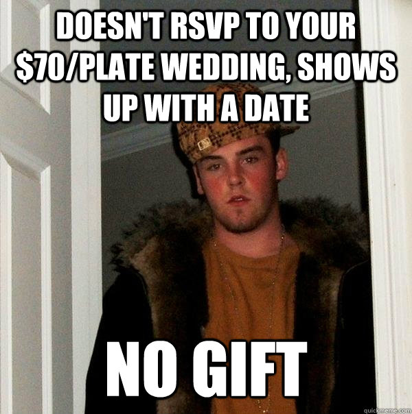 Doesnt RSVP to your USD70/plate wedding, shows up with a date No gift ...