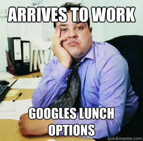Arrives to work googles lunch options - Arrives to work googles lunch options  Fat Office worker