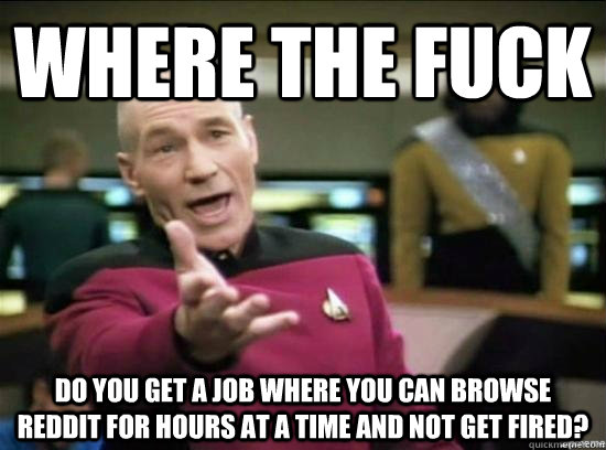 Where the fuck do you get a job where you can browse reddit for hours at a time and not get fired? - Where the fuck do you get a job where you can browse reddit for hours at a time and not get fired?  Annoyed Picard HD