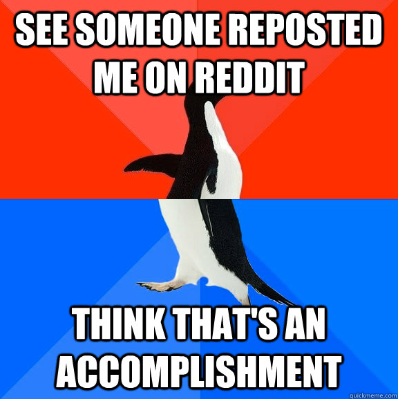 see someone reposted me on reddit Think that's an accomplishment - see someone reposted me on reddit Think that's an accomplishment  Socially Awesome Awkward Penguin