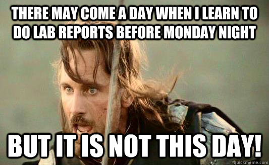 There may come a day when I learn to do lab reports before Monday night but it is not this day!