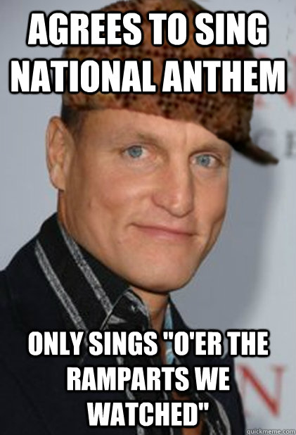 Agrees to sing national anthem only sings