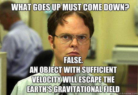 what goes up must come down? false. an object with sufficient velocity will escape the earth's gravitational field - what goes up must come down? false. an object with sufficient velocity will escape the earth's gravitational field  Schrute