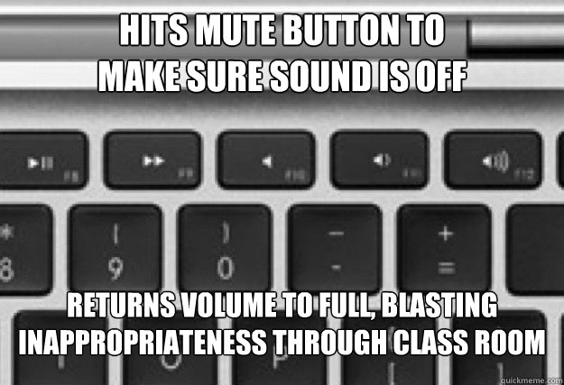 hits mute button to make sure sound is off Returns volume to