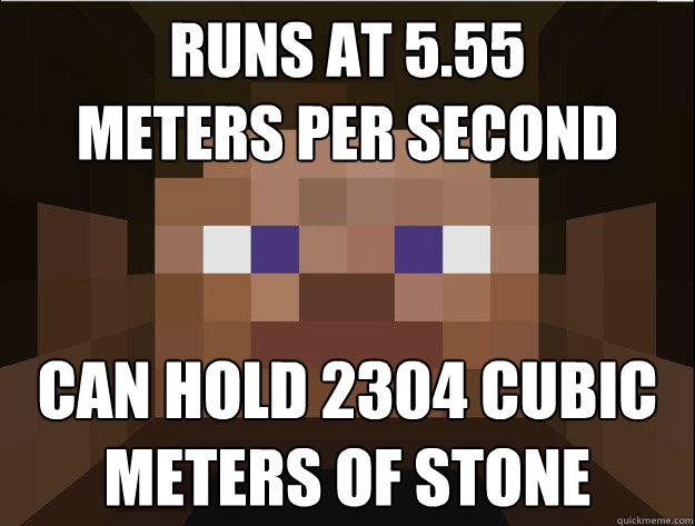 Runs at 5.55  Meters per second Can hold 2304 cubic Meters of stone - Runs at 5.55  Meters per second Can hold 2304 cubic Meters of stone  Minecraft Logic