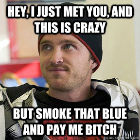 Hey, I just met you, and this is crazy but smoke that blue and pay me bitch - Hey, I just met you, and this is crazy but smoke that blue and pay me bitch  Jesse Rae Pinkman