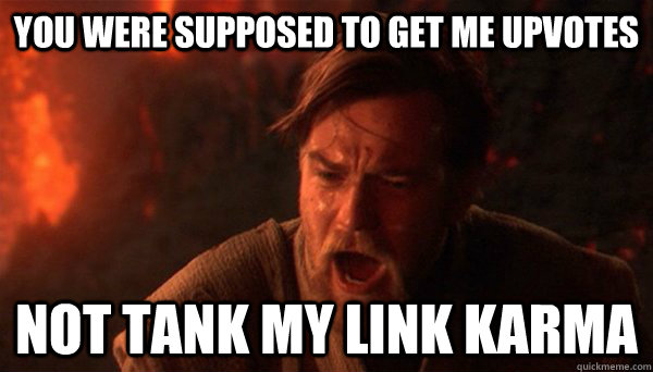 You were supposed to get me upvotes Not tank my link karma