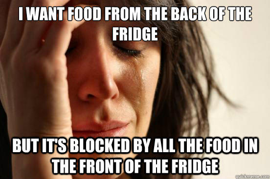 I want food from the back of the fridge But it's blocked by all the food in the front of the fridge - I want food from the back of the fridge But it's blocked by all the food in the front of the fridge  First World Problems