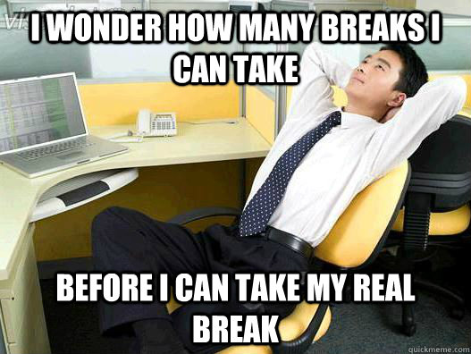 i wonder how many breaks i can take before i can take my real break