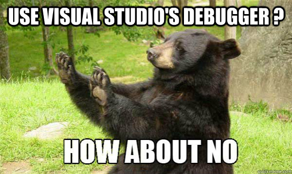 Use Visual Studio's debugger ?   How about no bear
