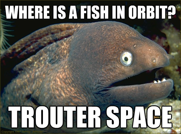 Where is a fish in orbit? Trouter space - Where is a fish in orbit? Trouter space  Bad Joke Eel