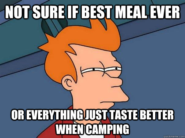 Not sure if best meal ever Or everything just taste better when camping  Futurama Fry