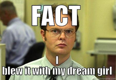 FACT I BLEW IT WITH MY DREAM GIRL Dwight