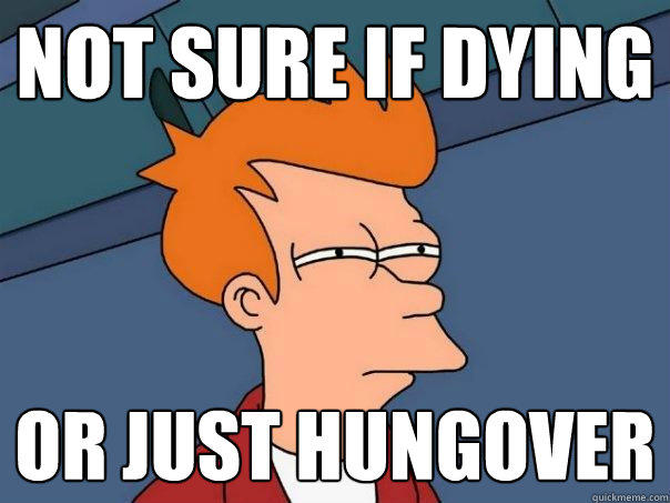 not sure if dying or just hungover - not sure if dying or just hungover  Futurama Fry