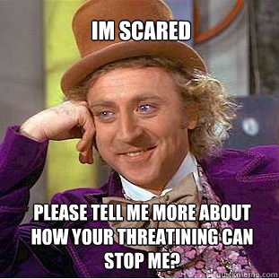 Im scared Please tell me more about how your threatining can stop me? - Im scared Please tell me more about how your threatining can stop me?  Willy Wonka Meme