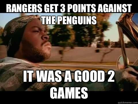 Rangers get 3 points against the penguins it was a good 2 games