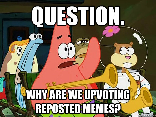 Question. Why are we upvoting reposted memes? - Question. Why are we upvoting reposted memes?  Question Asking Patrick