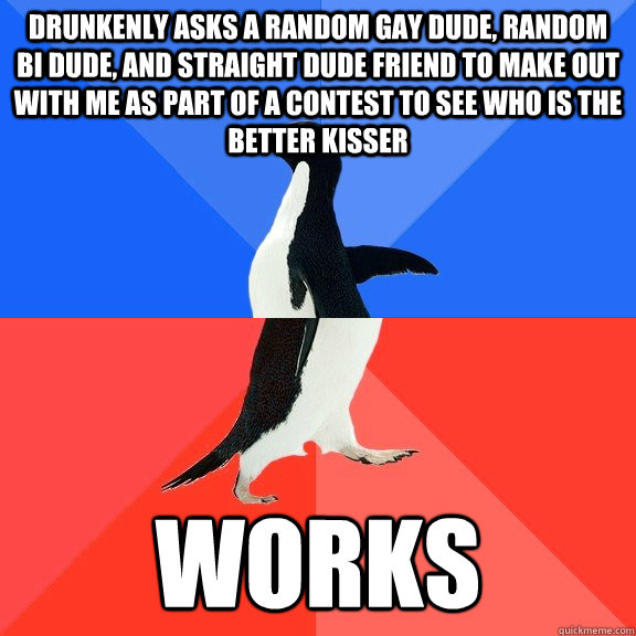 Drunkenly asks a random gay dude, Random bi dude, and straight dude friend to make out with me as part of a contest to see who is the better kisser Works - Drunkenly asks a random gay dude, Random bi dude, and straight dude friend to make out with me as part of a contest to see who is the better kisser Works  Socially Awkward Awesome Penguin