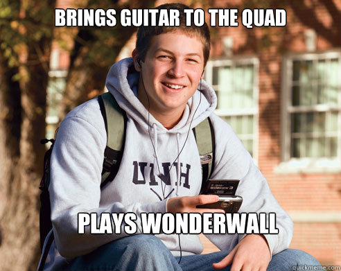 Brings guitar to the quad  Plays Wonderwall - Brings guitar to the quad  Plays Wonderwall  College Freshman