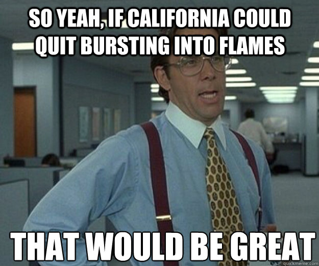 So yeah, if California could quit bursting into flames THAT WOULD BE GREAT - So yeah, if California could quit bursting into flames THAT WOULD BE GREAT  that would be great