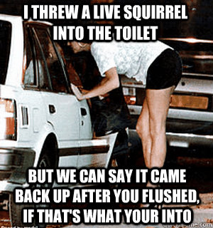 I threw a live squirrel into the toilet But we can say it came back up after you flushed, if that's what your into - I threw a live squirrel into the toilet But we can say it came back up after you flushed, if that's what your into  Karma Whore