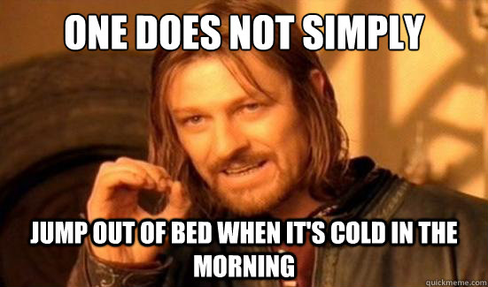One Does Not Simply jump out of bed when it's cold in the morning - One Does Not Simply jump out of bed when it's cold in the morning  Boromir