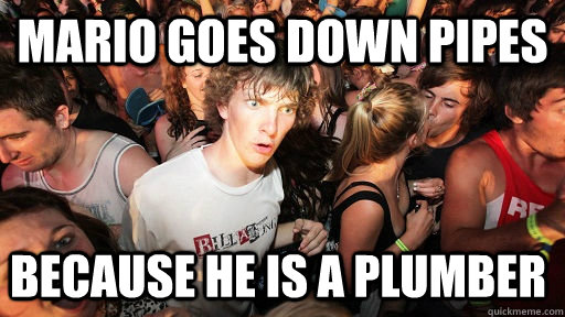 mario goes down pipes because he is a plumber  - mario goes down pipes because he is a plumber   Sudden Clarity Clarence