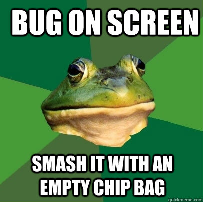 bug on screen Smash it with an empty chip bag -  bug on screen Smash it with an empty chip bag  Foul Bachelor Frog