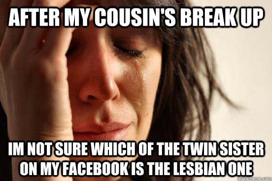 After my cousin's break up Im not sure which of the twin sister on my facebook is the lesbian one - After my cousin's break up Im not sure which of the twin sister on my facebook is the lesbian one  First World Problems