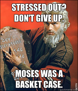 STRESSED OUT?  DON'T GIVE UP. MOSES WAS A BASKET CASE. - STRESSED OUT?  DON'T GIVE UP. MOSES WAS A BASKET CASE.  LOL Prophet