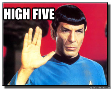 high five - high five  Spock