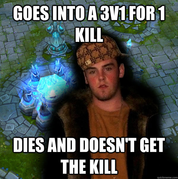 goes into a 3v1 for 1 kill dies and doesn't get the kill