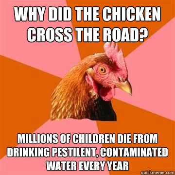 Why did the chicken cross the road? Millions of children die from drinking pestilent, contaminated water every year - Why did the chicken cross the road? Millions of children die from drinking pestilent, contaminated water every year  Misc