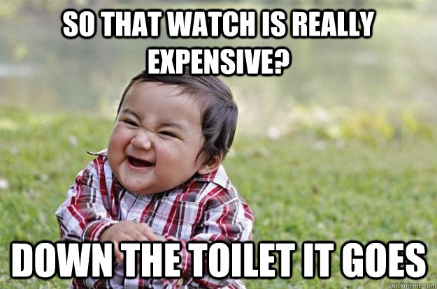 So that watch is really expensive? Down the toilet it goes - So that watch is really expensive? Down the toilet it goes  Evil Toddler