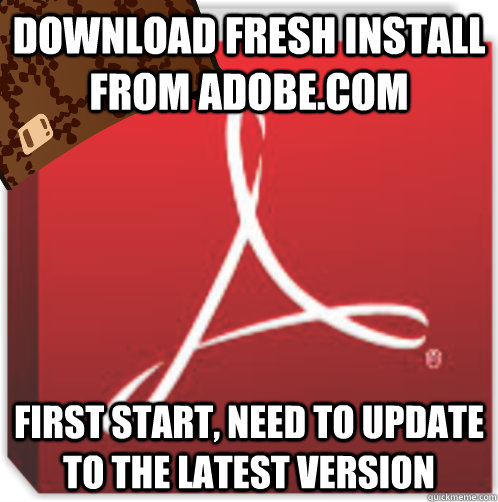 download fresh install from adobe.com first start, need to update to the latest version  Scumbag Adobe Reader