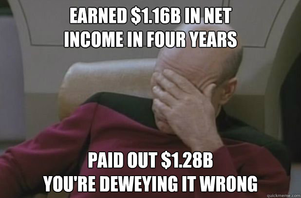 Earned $1.16B in net  income in four years Paid out $1.28B  You're Deweying it wrong