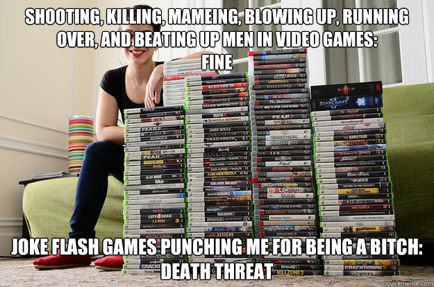 Shooting, killing, mameing, blowing up, running over, and beating up men in video games: fine joke flash games punching me for being a bitch: DEATH THREAT
