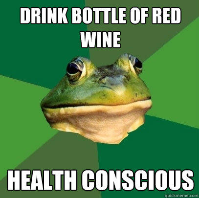 Drink bottle of red wine health conscious - Drink bottle of red wine health conscious  Foul Bachelor Frog