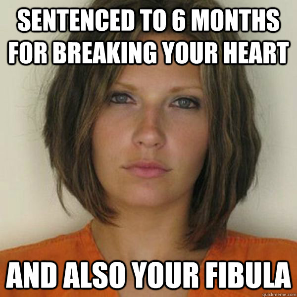 sentenced to 6 months for breaking your heart and also your fibula - sentenced to 6 months for breaking your heart and also your fibula  Attractive Convict