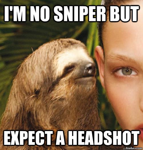 Im No Sniper But Expect A Headshot Rape Sloth Quickmeme